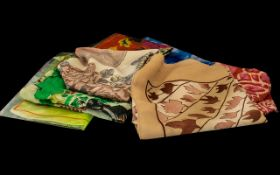 Collection of Vintage Silk Scarves in assorted colours and designs, with hand rolled edges. Eight in