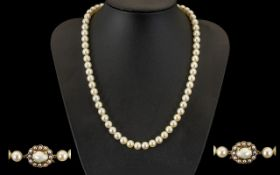 1950's Nice Quality and Attractive Single Strand Cultured Pearl Necklace,