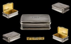 George III Regency Nice Quality Sterling Silver Hinged Snuff Box of rectangular shape with gilt