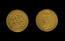 Queen Victoria Jubilee Head 22ct Gold Five Pound Coin date 1887. London Mint. Good Grade.
