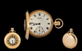 9ct Gold Demi Hunter Pocket Watch white porcelain dial , Roman Numerals with subsidiary seconds.