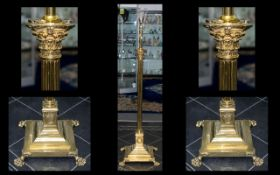 A Fine Quality Gilt Brass Corinthian Column Extending Standard Lamp with Stepped Base,