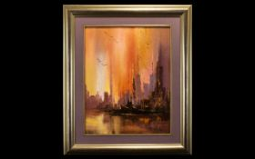 Julio Carballosa Oil on Canvas titled 'Harbour Light Show' by Cuban American artist Julio