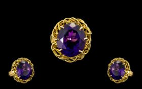 18ct Gold Superb Quality Single Stone Amethyst Set Dress Ring of stunning colour.