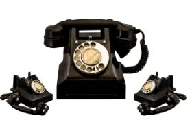 G P O Bakelite Telephone. Good condition throughout, Has G.P.O BATCH SAMPLED 7449 stamped to bottom,