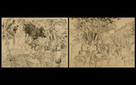 A Pair of Pencil Drawings on Paper Depicting Cafe Scenes in the South of France (circa 1920s).