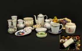Three Boxes of Assorted China & Pottery to include coffee pot, vases, jugs, trinket boxes, figures,