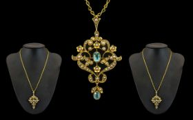 Victorian Period 15ct Gold Superb Quality - Open worked Ornate Pendant Drop with Attached 18ct Gold