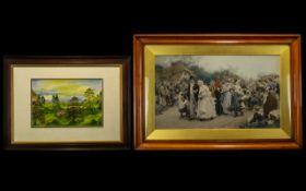 """Large Glazed & Framed Coloured Print 'The Village Wedding' measures 40"""" x 28""""."""