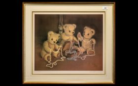 Large Signed Sue Willis Teddy Print No 452 / 850.