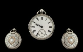 Victorian Period - Nice Quality Scottish Sterling Silver Open Faced Fusee Pocket Watch,