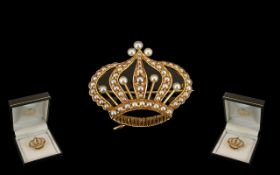 Antique Period Wonderful Quality 14ct Gold Coronet Brooch - Set with Pearls.