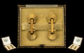 Art Deco Period Superb Designed & Quality Pair of 9ct Gold Cufflinks in a true Art Deco fan design