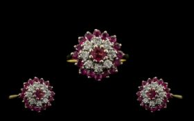 18ct Gold Attractive Ruby and Diamond Set Dress Ring, Flower head Setting.