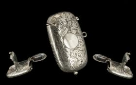 Victorian Silver Plate Combined Sovereign & Vesta Case.