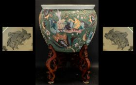 Chinese Porcelain Decorated Fish Bowl & Stand,