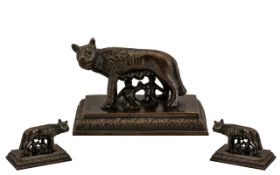 Romulus & Remus Small Grand Tour Bronzed Antique Figure of the she-wolf feeding the children of