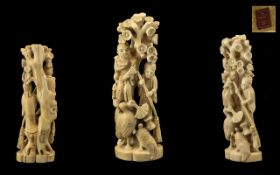 Japanese Meiji Period Red Seal Ivory Carved Figure,
