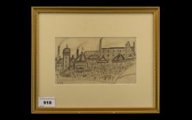 Lowry (Circle of L S Lowry) Pencil Drawing. Fairground scene, signed with initials LSL. Size 4.