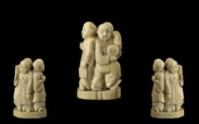 Chinese 19th Century Small Carved Ivory Figure Group Depicting Three Figures Holding Fans - circa
