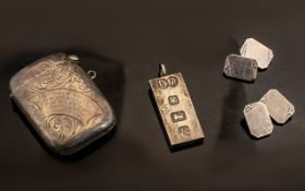 A Small Mixed Lot of Silver to include a 1905 Vesta Case with engraved decoration,