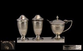 Art Deco Silver Salt & Pepper & Mustard Pot.