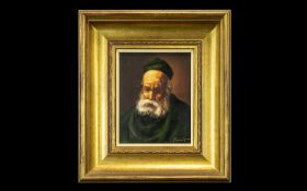 20thC Portrait on Canvas, Spanish housed in a gilt swept frame,
