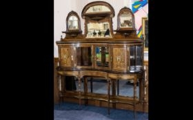 A Fine Quality Late Victorian Rosewood Etage Cabinet with Unusual Configured Mirror Back - formed