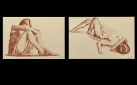 Two David Smith Sepia Framed Paintings. Both depicting semi clad ladies one in a reclining position,