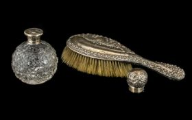 A Small Collection of of Silver Items to include an Edwardian Silver Embossed Backed Hairbrush,