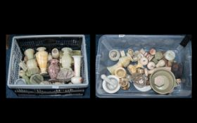 Two Large Boxes of Onyx, Marble & Sandstone Items to include vases, trinket boxes,