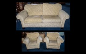Three Piece Suite comprising a three-seater sofa and two armchairs, upholstered in a chenille fabric