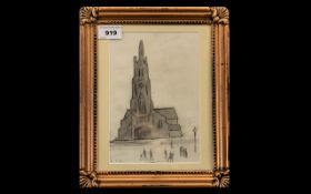 Lowry (Circle of L S Lowry) Pencil Drawing, view of a church with men walking in the foreground,