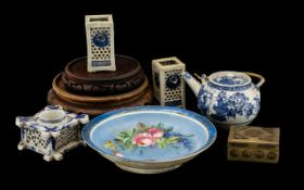 Four Small Oriental Blue & White Vases, with two oriental wood stands and a blue decorated dish.