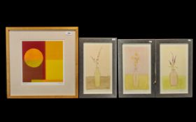"""Collection of Three Watercolours, each depicting 'Bottle with Flowers', each measuring 16"""" x 10""""."""