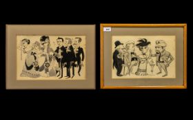 Emmwood Signed Pair of Ink Drawings Depicting Characters From the Stage, Signed.
