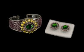 Green, Yellow and Purple Crystal Bangle with matching earrings,