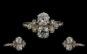 Antique Period - Stunning Platinum Diamond Set Dress Ring,