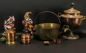 Collection of Vintage Metal Ware to include a pair of heavy door stops,