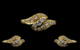 18ct Gold - Attractive and Excellent Quality Diamond Set Dress Ring,