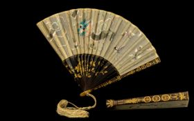 Antique Chinese Embroidered Fan - depicting a dragon with butterflies,