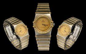 Omega - Constellation 18ct Gold and Steel Diamond Set Ladies Wrist Watch,