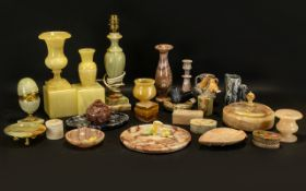 Large Collection of Marble, Onyx & Sandstone Items to include lamp base, vases, table lighter,