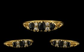 Ladies - Attractive 9ct Gold Sapphire and Diamond Set Dress Ring, Old Gallery Setting.