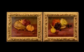 Pair of M N Richardson Still Life Paintings of fruit - pears, apples, grapes etc.