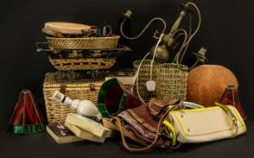 Collection of Vintage & Contemporary Household Items to include lamp shades, light fittings,