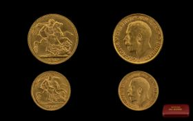 George 22ct Full Sovereign Date 1911. London Mint. Plus a George V 22 gold half sovereign date 1911.