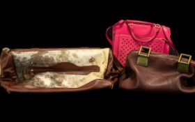 Collection of Fashion Bags to include Purple & Khaki Paul Smith bag; cerise pink Radley style bag;