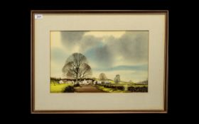 J R Hurley Signed Watercolour depicting an English rural farm scene in autumn.