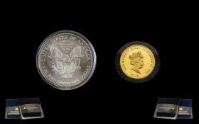 Elizabeth II Solid Gold Coin & R M S Pure Silver Titanic Coin.